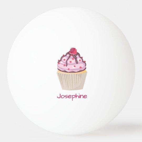 Cupcakes cor-de-rosa da baga bola de ping pong