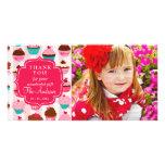 Cupcakes cor-de-rosa modernos algum obrigado da oc cartoes com fotos personalizados