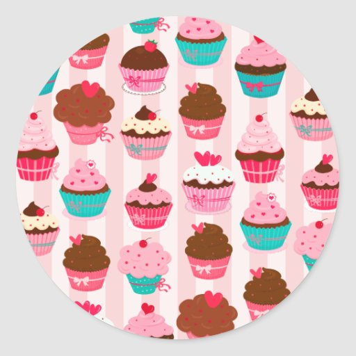 Cupcakes cor-de-rosa modernos femininos adesivo em formato redondo