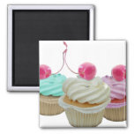 Cupcakes da cereja ímã quadrado