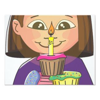 Cupcakes da menina do aniversário convite 10.79 x 13.97cm