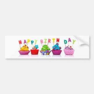 Cupcakes do feliz aniversario - autocolante no adesivo para carro