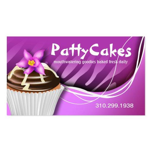 Cupcakes do pop da zebra - roxo do ombre cartões de visitas