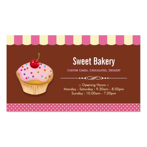 Cupcakes feitos sob encomenda bonitos - loja doce  modelo cartões de visitas
