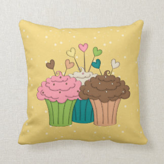 Cupcakes, Polkadots e corações Almofada