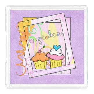 Cupcakes quadro bandeja de acrílico