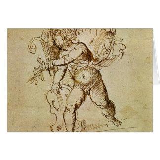 Cupido com um violino por Campagnola, arte de Cartão Comemorativo