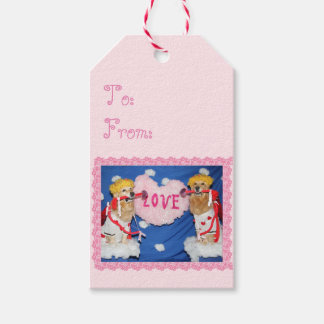 Cupido do golden retriever do amor etiqueta para presente