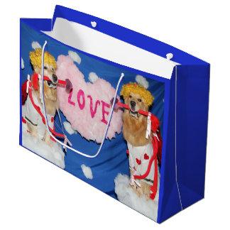 Cupido do golden retriever do amor sacola para presentes grande