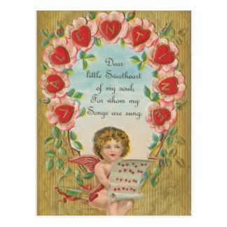Cupido do vintage com notas musicais cartão postal
