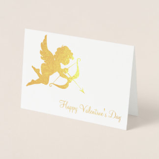 Cupido e ouro do feliz dia dos namorados da seta cartão metalizado