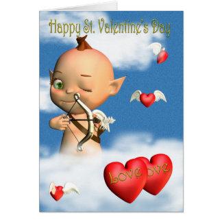 Cupido feliz do dia dos namorados do St. Cartão Comemorativo