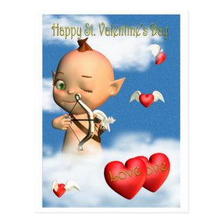 Cupido feliz do dia dos namorados do St. Cartao Postal