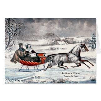 Currier & Ives - cartão - a estrada, inverno
