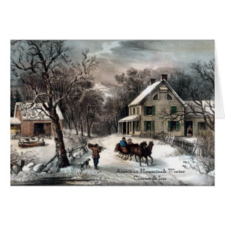 Currier & Ives - cartão - inverno da herdade