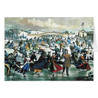 Currier & Ives - cartão - lagoa do Central Park