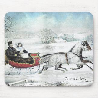 Currier & Ives o inverno Mousepad da estrada
