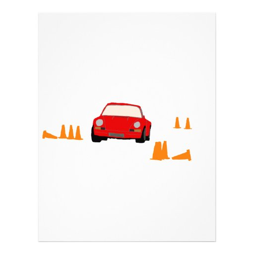 Curso de Autocross com carro e os cones vermelhos Papel De Carta Personalizados