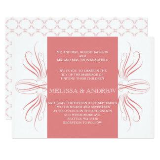 Curvas elegantes corais que Wedding o inviation Convite 12.7 X 17.78cm