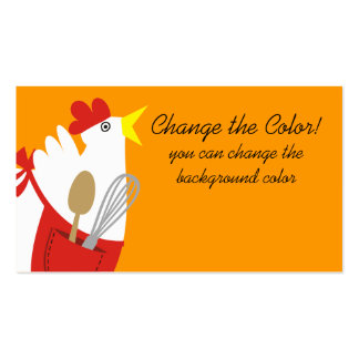 Custom color chicken apron cooking utensils business card