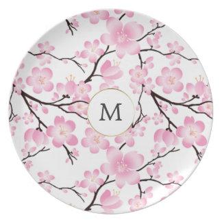 customizável intial do vintage bonito da flor de prato de festa