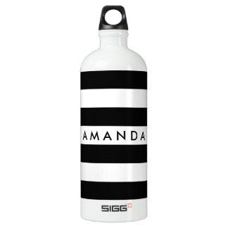 Customizável listrado elegante preto e branco garrafa d'água de alumínio