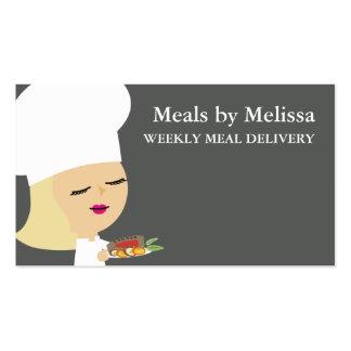 Cute blonde girl chef steak dinner biz cards business card templates