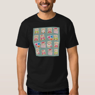 Cute teddy bear Pattern  on green background Tshirt