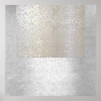 Cyber binário geométrico da arte moderna abstrata pôster