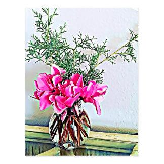 Cyclamen cor-de-rosa, buquê floral - cartão feliz