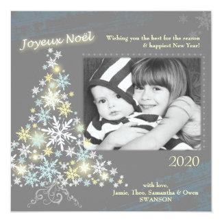 Da árvore bonito dos flocos de neve de Joyeux Noel Convite