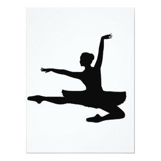 ~ da BAILARINA JETÉ (silhueta do dançarino de Convite 16.51 X 22.22cm