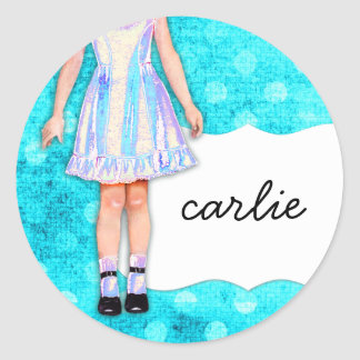 Da boneca feminino da menina do GC | pontos azuis Adesivo