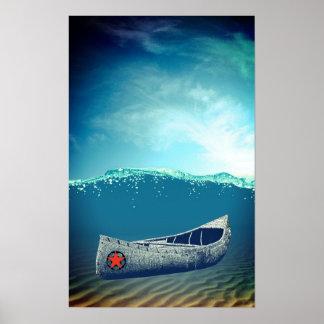 Da canoa arte do poster à deriva