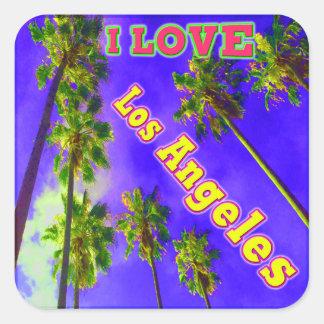 Da céu palma EU AMO Los Angeles 1 etiqueta Adesivo Quadrado