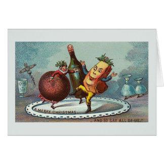 """Cartão Da """"comida do Natal dança!"""" Cartão do vintage"""