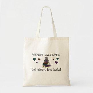 Da coruja livros do amor sempre sacola tote budget