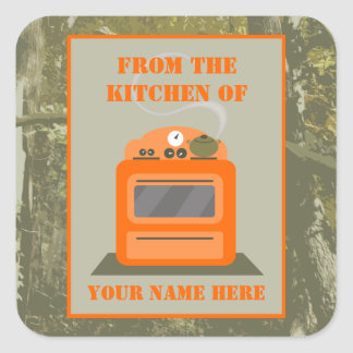 Da cozinha… de Camo & do fogão alaranjado Adesivo Quadrado