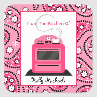 Da cozinha… de Paisley cor-de-rosa & do fogão Adesivo Quadrado