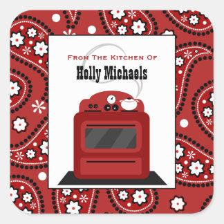 Da cozinha… de Paisley & do fogão vermelhos Adesivo Quadrado