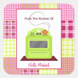 Da cozinha… do fogão & da xadrez verde-claro adesivo quadrado