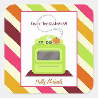 Da cozinha… do fogão & de listras verde-claro adesivo quadrado