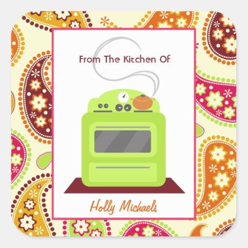 Da cozinha… do fogão & de Paisley verde-claro Adesivo Quadrado