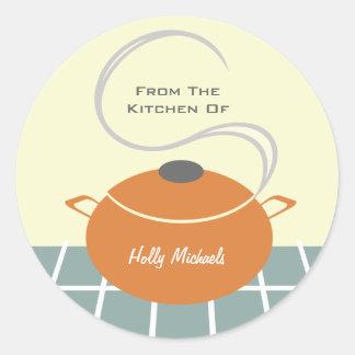 Da cozinha… do pote alaranjado do cozinhar adesivo redondo