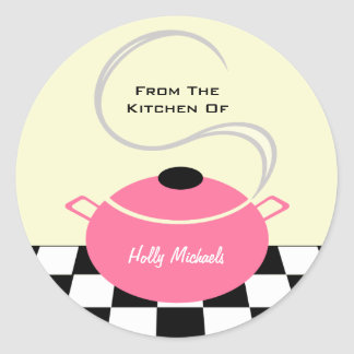 Da cozinha… do pote cor-de-rosa do cozinhar adesivo