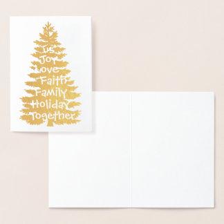Da família do feriado árvore do feriado junto cartão metalizado