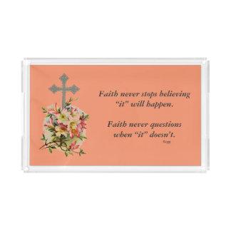 Da fé cruz da flor da bandeja w/Pink da vaidade