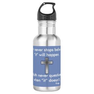 Da fé cruz da garrafa de água w/Blue nunca