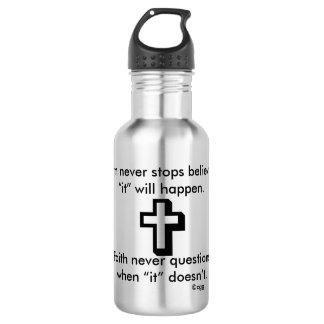 Da fé cruz da garrafa de água w/Shadow nunca