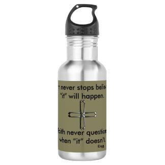Da fé cruz da garrafa de água w/Steel nunca